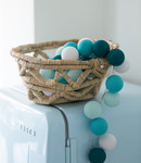 COTTON BALL LIGHTS Regular Light String - Aqua