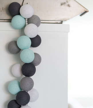 COTTON BALL LIGHTS Regular Light String - Aqua Grey