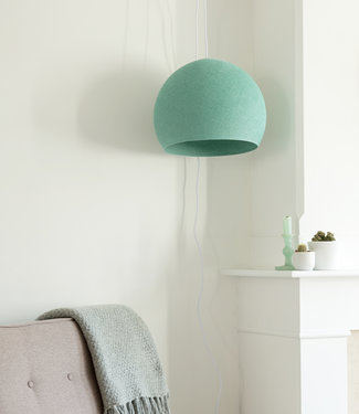 COTTON BALL LIGHTS Hanging Lamp Three Quarter - Sea Green