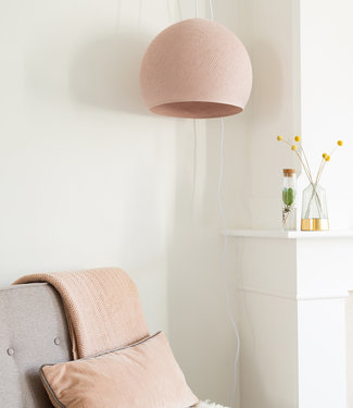 COTTON BALL LIGHTS Hanging Lamp Three Quarter - Pale Pink