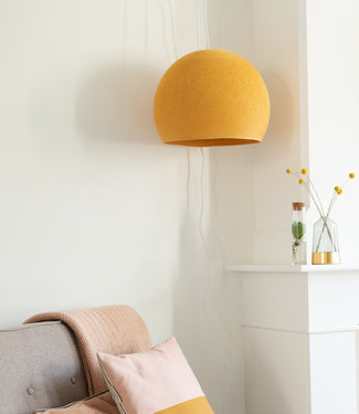 COTTON BALL LIGHTS Hanging Lamp Three Quarter - Mustard
