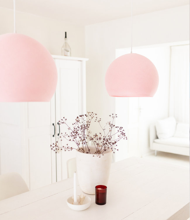 COTTON BALL LIGHTS Hanging Lamp Three Quarter - Light Pink
