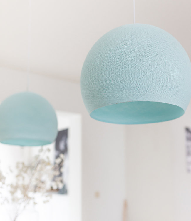 COTTON BALL LIGHTS Hanging Lamp Three Quarter - Light Aqua