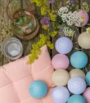 LUBANIDA Cotton Ball Lights feestverlichting  pastel - 20 ballen - Pastel