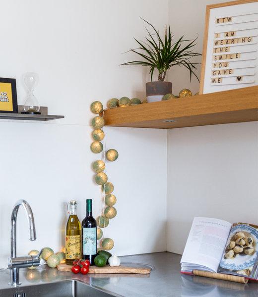 COTTON BALL LIGHTS Inspiration | Kitchen | Mix & Match String Light Sage Green