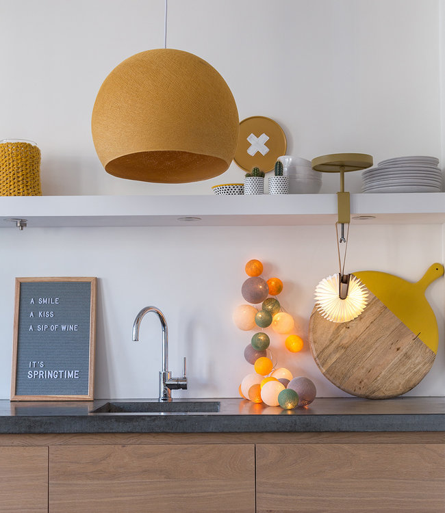 COTTON BALL LIGHTS Inspiration | Kitchen | Mustard Hanging lamp Three Quarter