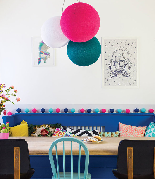COTTON BALL LIGHTS Inspiration | Living Room | Bright Pink Heavy Aqua White Triple Hanging Lamp