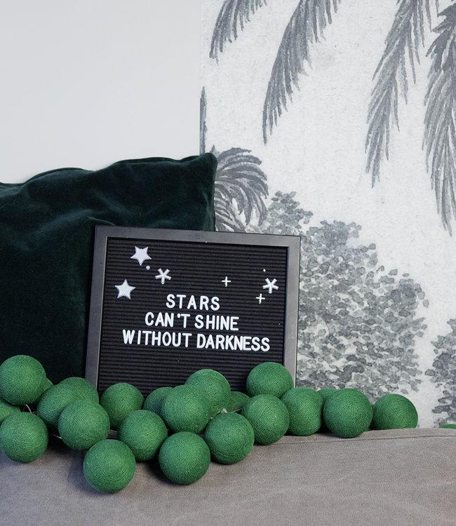 Inspiration | Living Room | All Black Letterboard Green String Lights