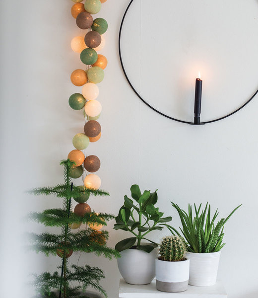 COTTON BALL LIGHTS Inspiration | Living Room | Regular Forest Green String Light