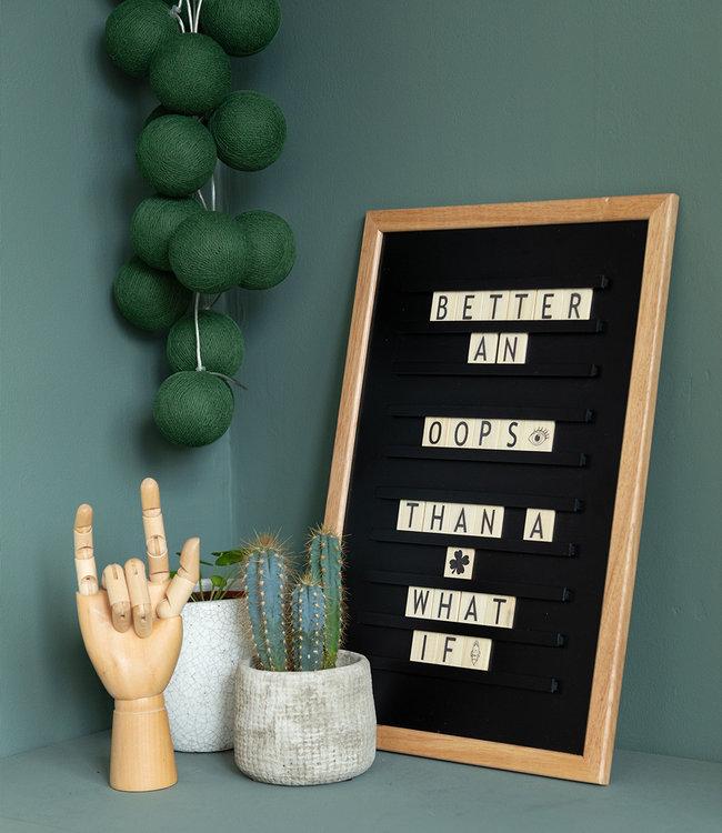 LEDR Inspiration   Living Room   Black Old School Letterboard Dark Green String Light