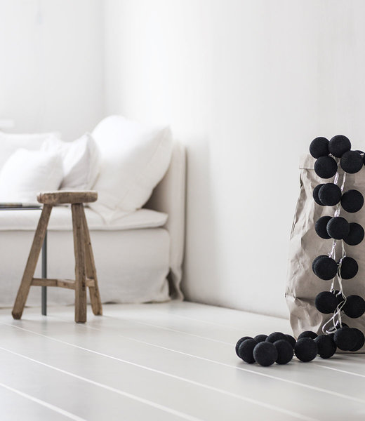 COTTON BALL LIGHTS Inspiration | Living Room | Regular Black String Light 4