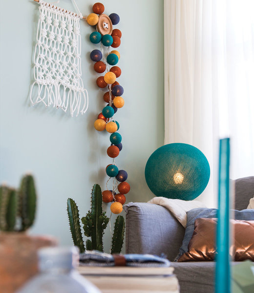 COTTON BALL LIGHTS Inspiration | Living Room | Heavy Aqua Hanging Lamp