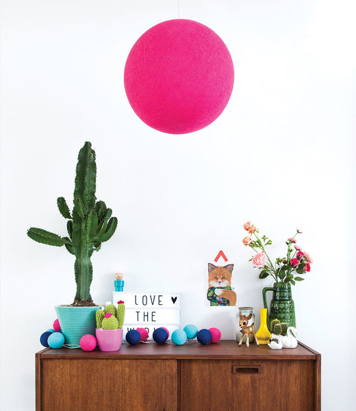COTTON BALL LIGHTS Inspiration | Living Room | Bright Pink Hanging Lamp