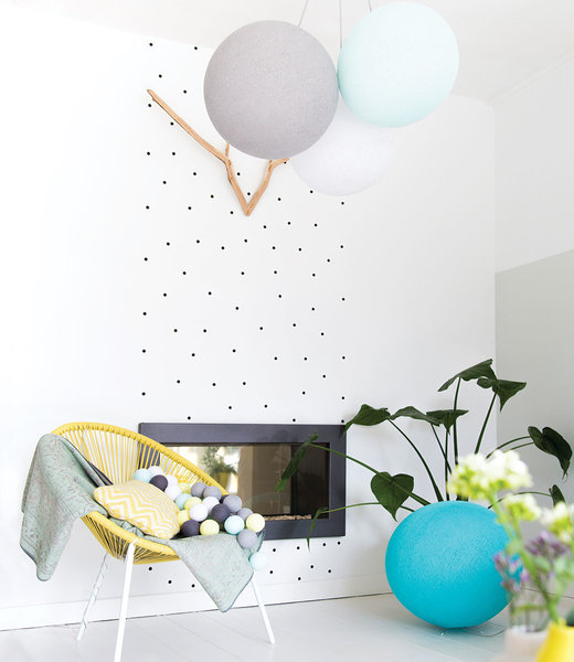COTTON BALL LIGHTS Inspiration | Wohnzimmer | Light Aqua White Stone Triple Hanging Lamp