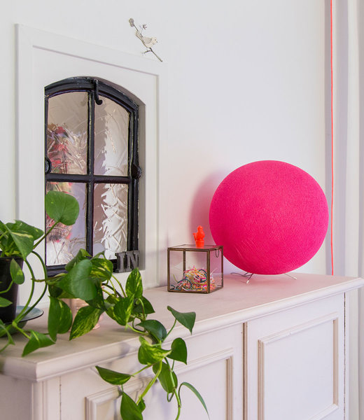 COTTON BALL LIGHTS Inspiration | Bedroom | Bright Pink Standing Lamp