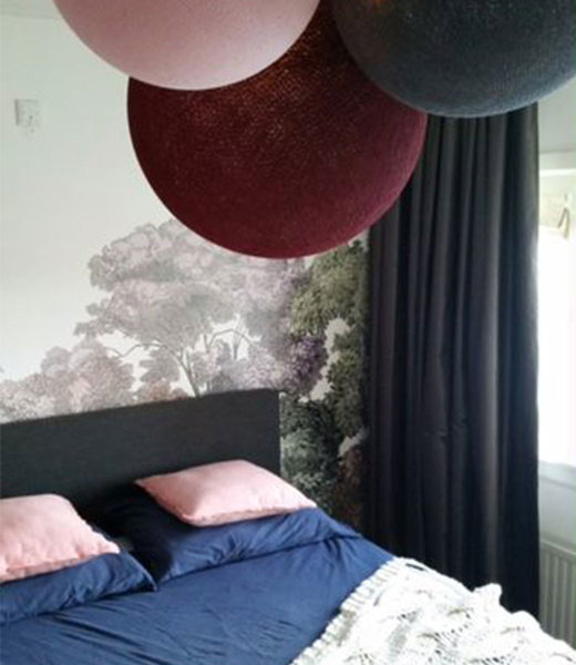 COTTON BALL LIGHTS Inspiration | Bedroom | Dark Red Pale Pink Mid Grey Triple Lamp
