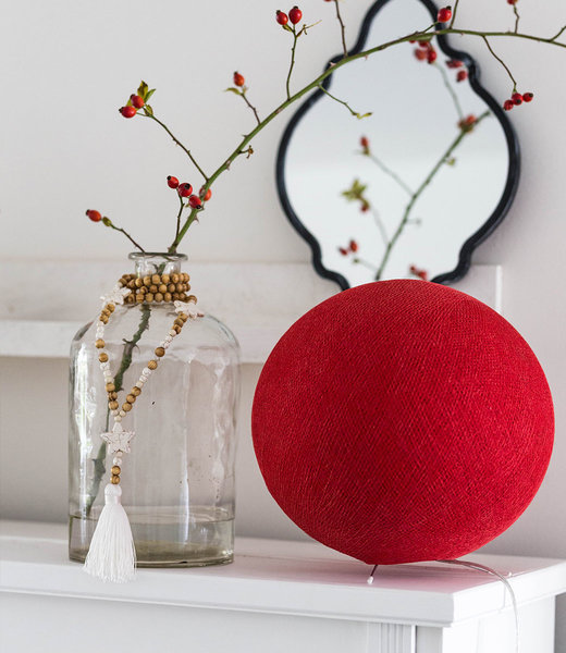 COTTON BALL LIGHTS Inspiration | Bedroom | Red Standing Lamp