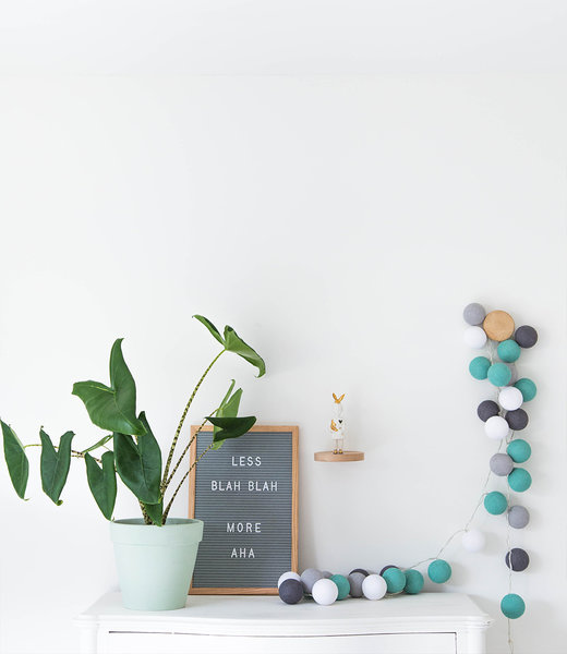COTTON BALL LIGHTS Inspiration | Bedroom | Grey Letterboard 45x30CM Mix & Match Aqua Ocean