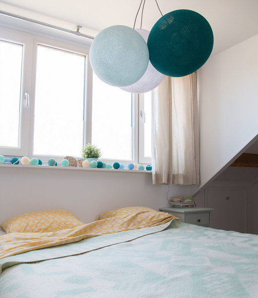 COTTON BALL LIGHTS Inspiration | Bedroom | Triple Light Aqua White Heavy Aqua