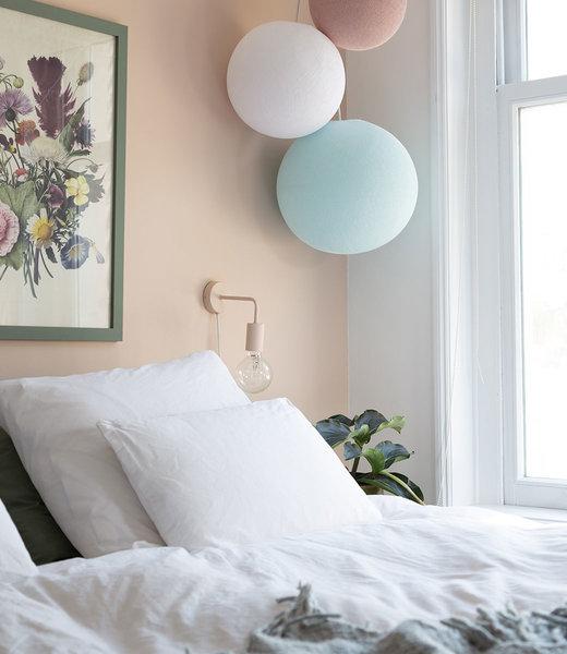 COTTON BALL LIGHTS Inspiration | Bedroom | Triple Light Aqua White Pale Pink