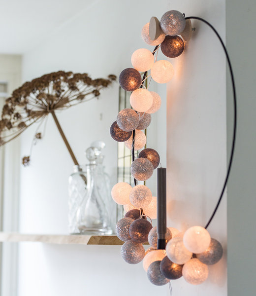 COTTON BALL LIGHTS Inspiratie | Feest | Sparkling Lichtslinger Silver Mix