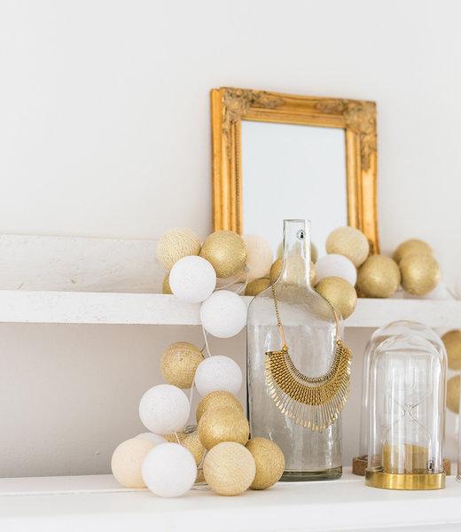 COTTON BALL LIGHTS Inspiratie | Feest | Sparkling Lichtslinger Touch of Gold