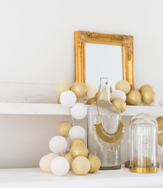 COTTON BALL LIGHTS Inspiration | Party | Sparkling String Light Touch of Gold