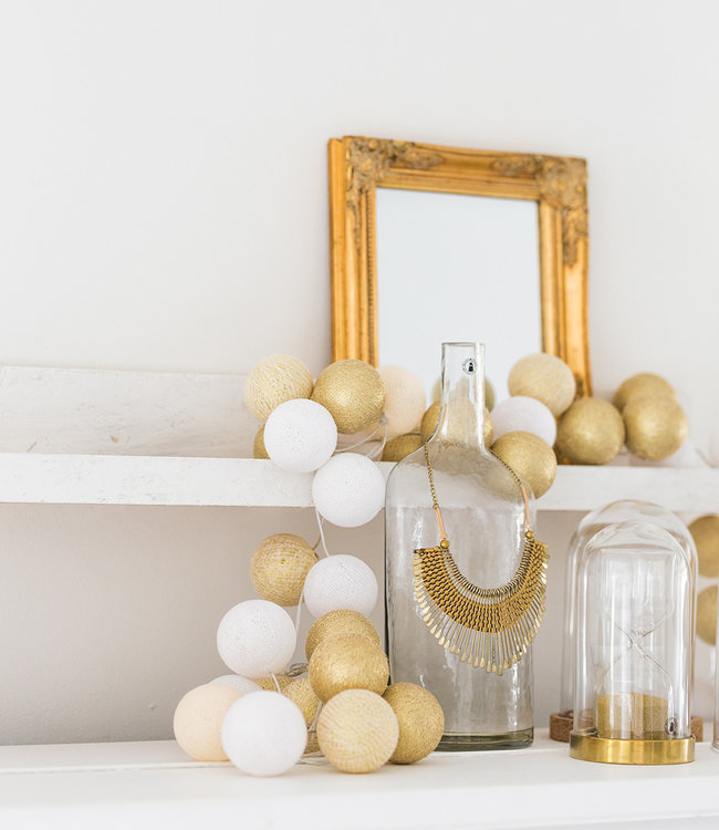 COTTON BALL LIGHTS Inspiration   Party   Sparkling String Light Touch of Gold