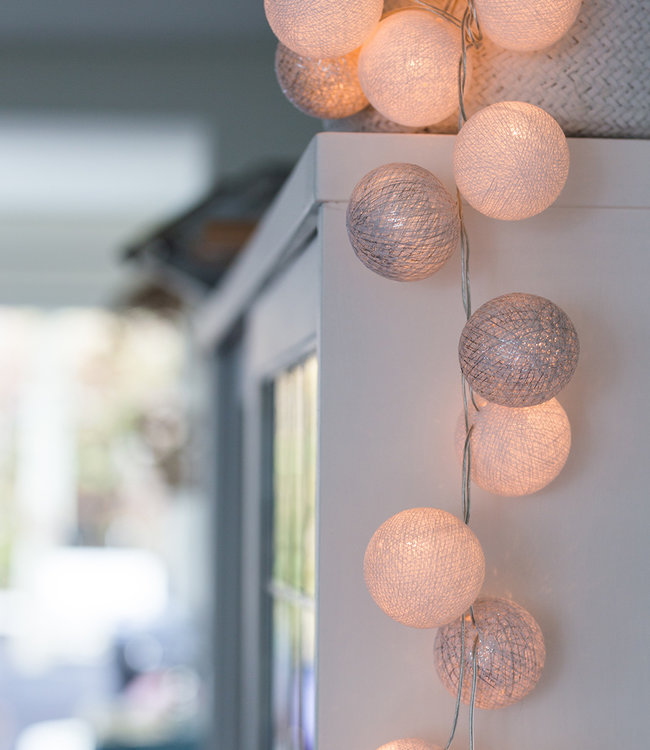 COTTON BALL LIGHTS Inspiration | Party | Sparkling String Light Silver White