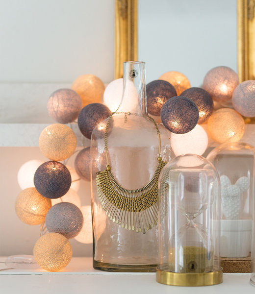 COTTON BALL LIGHTS Inspiration | Party | Regular String Light Sand Grey