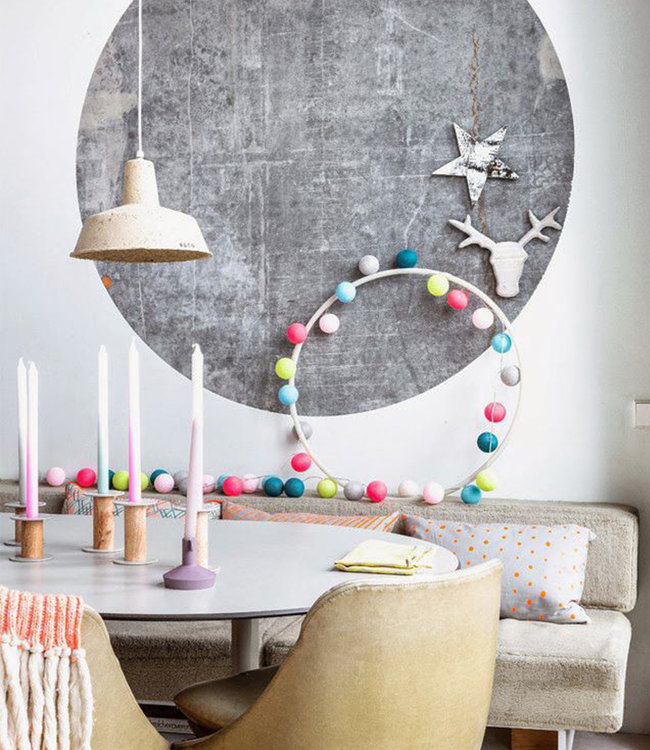 COTTON BALL LIGHTS Inspiratie | Feest | Mix & Match Lichtslinger Bright Pink Soft Yellow Heavy Aqua