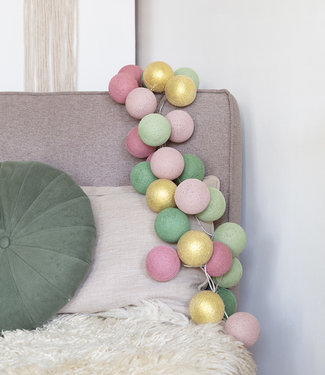 COTTON BALL LIGHTS Inspiratie | Feest | Mix & Match Lichtslinger Dirty Rose Gold Sage Powder Green