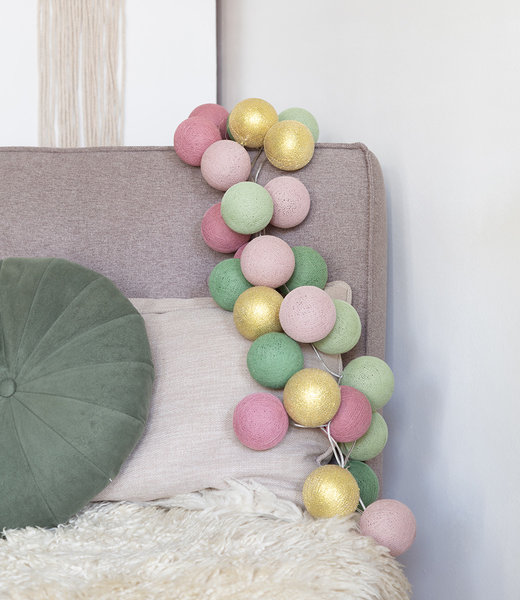 COTTON BALL LIGHTS Inspiration | Party | Mix & Match String Light Dirty Rose Gold Sage Powder Green