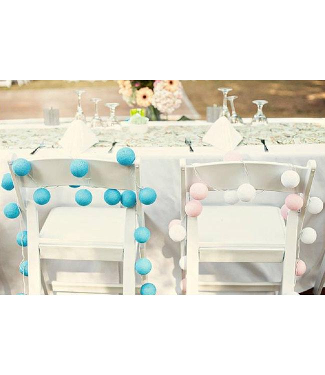 COTTON BALL LIGHTS Inspiration | Party | Mix & Match String Light Blue Pink Wedding