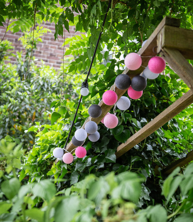 COTTON BALL LIGHTS Inspiration | Garden | Outdoor Cottonball String Light Rosa 2