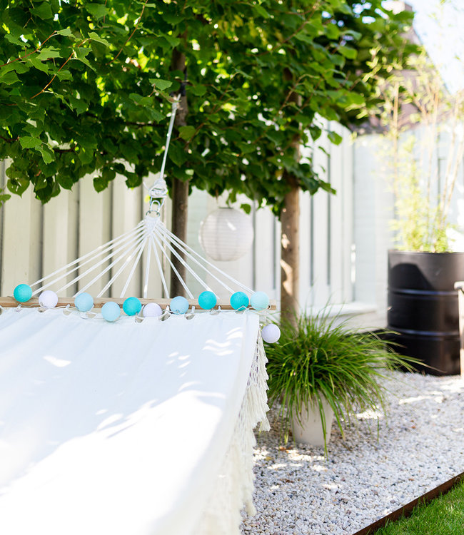 COTTON BALL LIGHTS Inspiratie | Tuin | Outdoor Cottonball Lichtslinger Mix&Match Aqua Turquesa