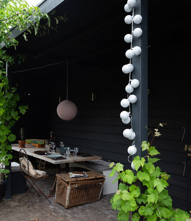 COTTON BALL LIGHTS Inspiratie | Tuin | Outdoor Cottonball Lichtslinger Plata Hanglamp Pale Pink