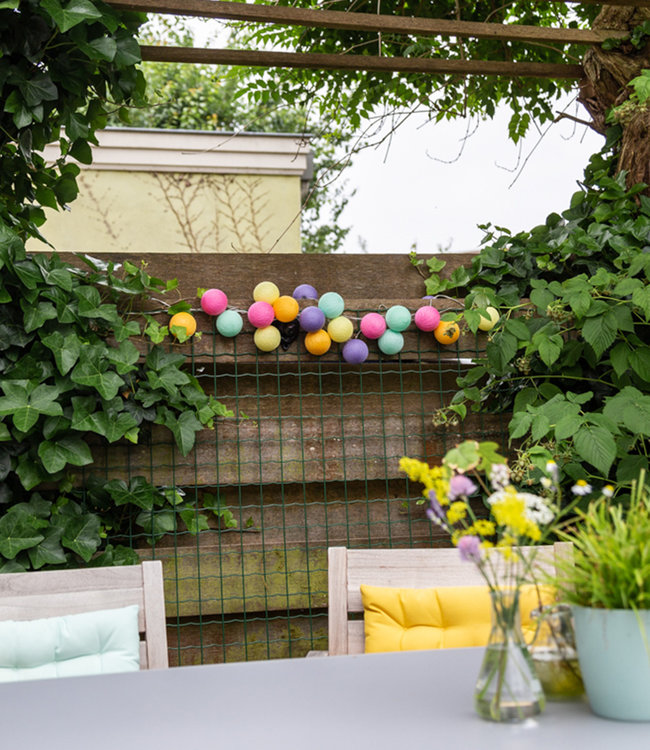 COTTON BALL LIGHTS Inspiration   Garden   Outdoor Cottonball String Light Arco Iris 2