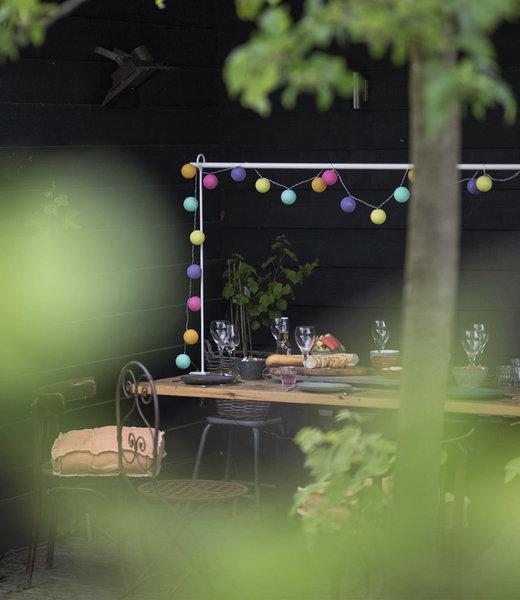 COTTON BALL LIGHTS Inspiration | Garden | Outdoor Cottonball String Light Arco Iris