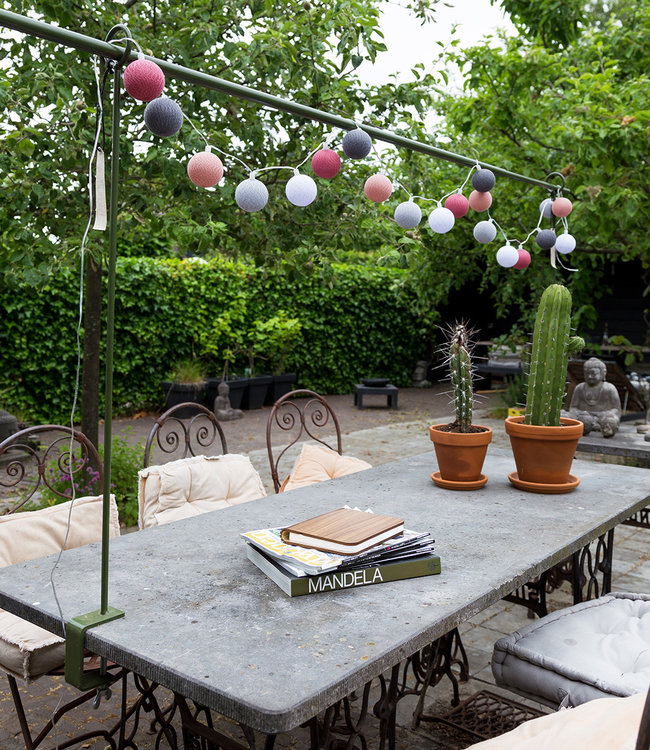 COTTON BALL LIGHTS Inspiration | Garden | Outdoor Cottonball String Light Viejo Rosa