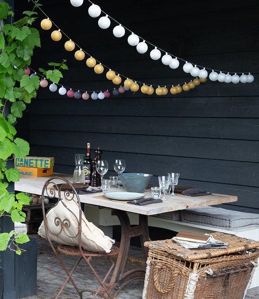 COTTON BALL LIGHTS Inspiration | Garden | Outdoor Cottonball String Light Plata Oro Viejo Rosa