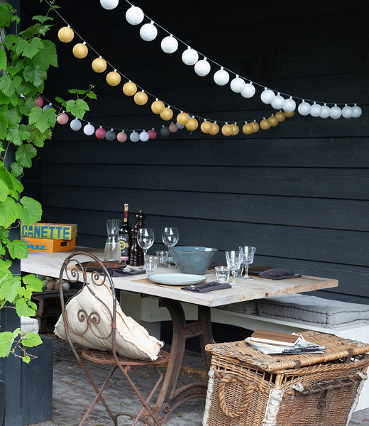 COTTON BALL LIGHTS Inspiration | Garten | Outdoor Cottonball String Light Plata Oro Viejo Rosa