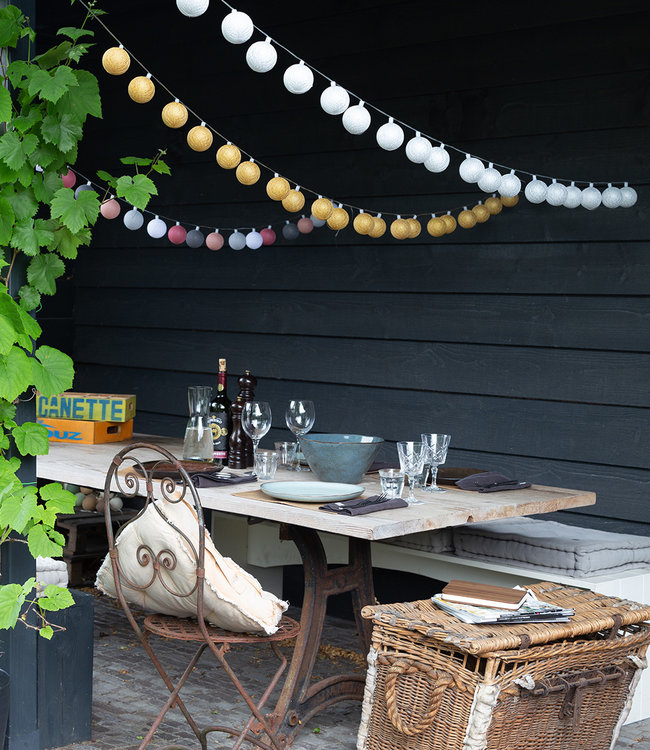 LUBANIDA Inspiration | Garden | Outdoor Cottonball String Light Plata Oro Viejo Rosa