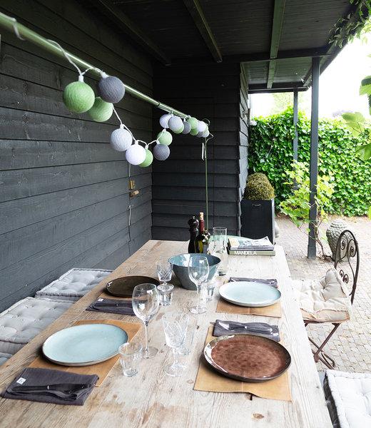 COTTON BALL LIGHTS Inspiration | Garden | Outdoor Cottonball String Light Verde