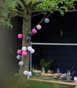 LUBANIDA Inspiration   Garten   Outdoor Cottonball String Light Rosa