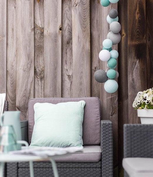COTTON BALL LIGHTS Inspiration | Garden | Premium String Light Cool Choise Aqua 2