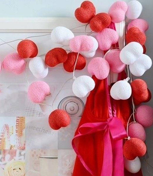 COTTON BALL LIGHTS Inspiration | Party | Hearts String Light Valentine 3