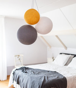 COTTON BALL LIGHTS Triple Hanging Lamp - Mustard Glows