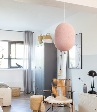 COTTON BALL LIGHTS Oval Hanging Lamp - Pale Pink