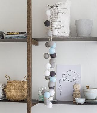 COTTON BALL LIGHTS Regular Lichterkette - Aqua Grey